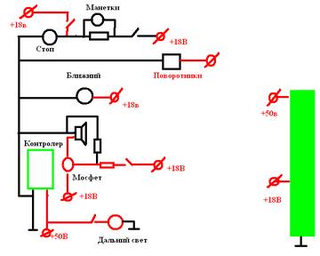 Электрическая схема дополнительного оборудования е-байка.